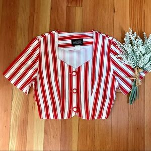 Vintage 50s candy red & white striped crop top